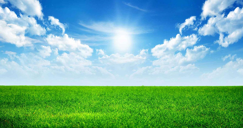 Lucht met grasveld